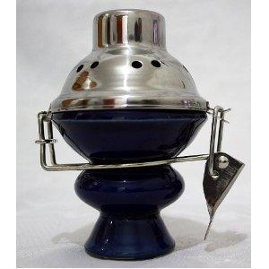 Chicha Narguilé Bol en acier inoxydable et vent couverture–bleu Bol en céramique et écran en métal pour narguilé Nargila
