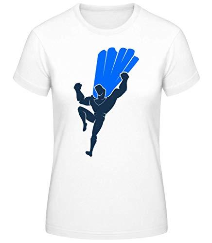 Shirtinator Frauen Basic T-Shirt   Superman Silhouette Cape   Geschenke Lustig (Weiß, S)