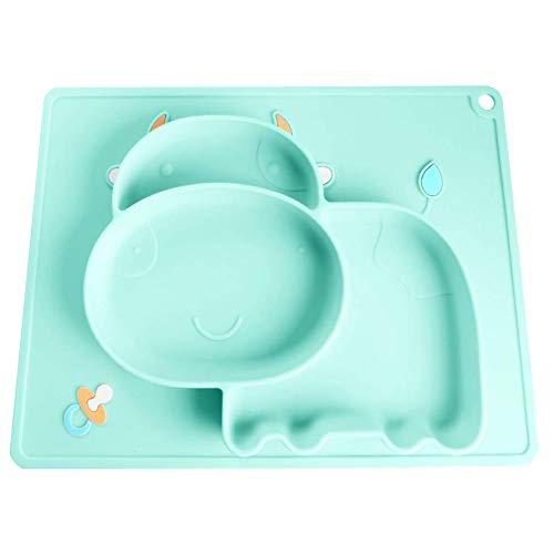 SLGOL - Tovaglietta in silicone per bambini, piastra con ventosa e piatto portatile, non tossico, lavabile in lavastoviglie, utilizzabile in forno a microonde e forno, con ventosa, facile da pulire