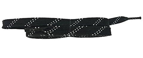 Taille coepoch longue Hockey Skate Lacets ciré pour roller derby Patins à glace de hockey sur glace Curling Bottes, two Black, 96
