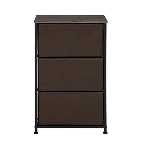 Aingoo Comoda Organizador con 3 cajones Armario de Tela Modular Multiusos de armarios y vestidores en Tela para el Dormitorio o el Cuarto de los niños, Marrón