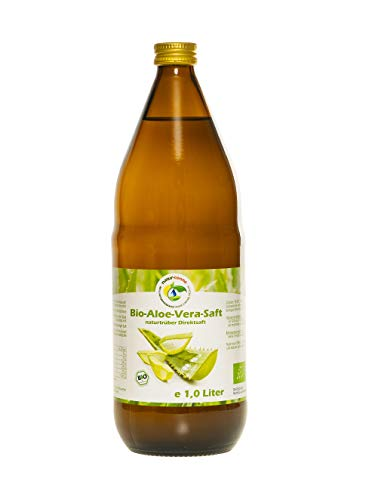 Bio Aloe Vera Saft 1l, naturtrüber Direktsaft, ohne Zuckerzusatz, vegan, kontrolliert biologischer Anbau, handfiletiert, Abfüllung in Deutschland