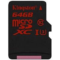 Kingston SDCA3/64GBSP Carte MicroSDHC/SDXC UHS-I U3 90R/80W (SDCA3) Carte Seule