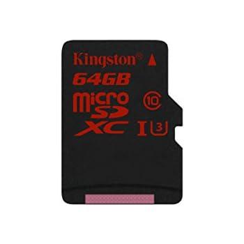 Kingston SDCA3/64GB - Tarjeta de Memoria microSDHC/SDXC de 64 GB (UHS-I U3, 90R/80 W, SDCA3, Solo Tarjeta)