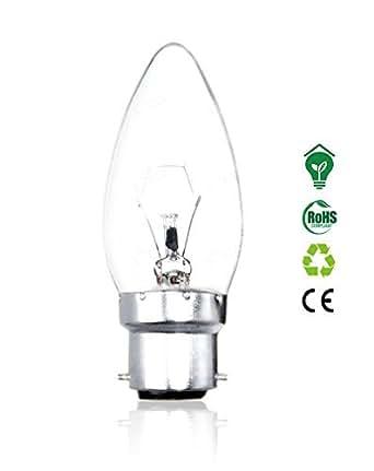 Lot de 1–Ampoule bougie B22à baïonnette 40W Lampes longue durée de vie très résistant