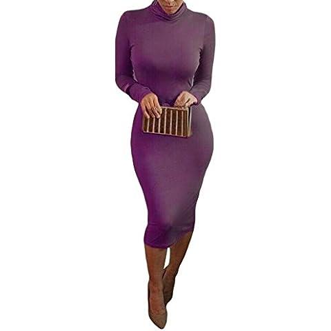 ALAIX - Atractivo vestido de cuerpo entero para mujer, falda con manga larga, cuello alto y largo por debajo de las
