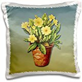 BLN Victorian Fruits and Flowers Collection - Plant with Bright Yellow Flowers in a Terra Cotta Flower Pot - 16x16 inch Pillow Case