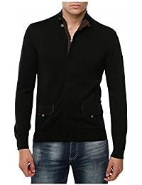 Homme LAZUROS - Noir Slim Fit avec manches longues Zipper Casual Sweater par GEAR