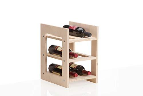 Xamonia® WR1-6F Weinregal, Flaschenregal, Weinhalter aus Holz, für 6 Flaschen, stapelbar