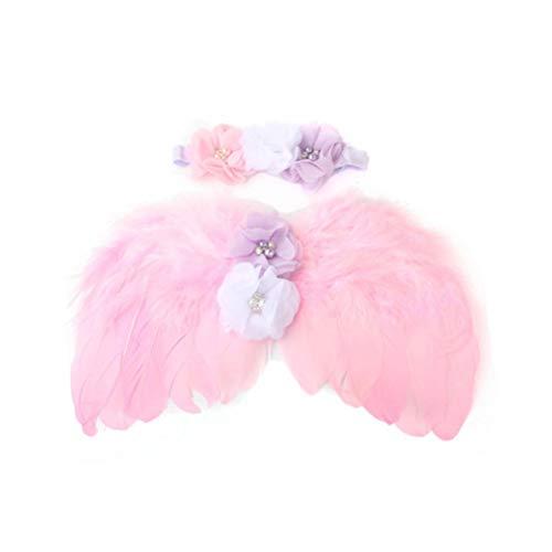 Amosfun Baby Feder Engelsflügel mit Blume Stirnband Set für Neugeborene Taufe Kostüm Foto Requisiten (Rosa) (Engelsflügel Mit Federn)