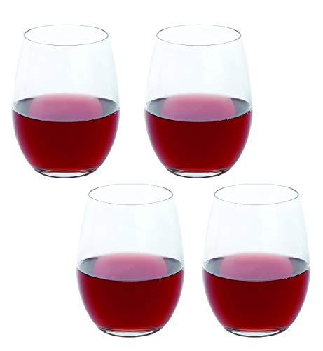 Dartington Crystal Weingläser Ohne Stiel Plus Rot Wein Weinglas, Transparent, 4Stück