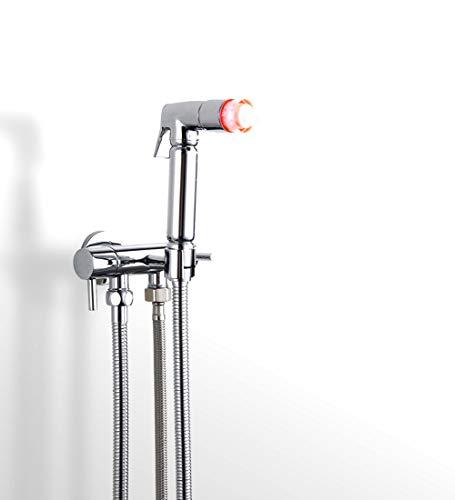 LED Baby Windel-Sprayers Handheld Bidet Sprayer Für Toilette Chrome Tuch Diaper Kit Solid Brass Chrome Finish Shattaf Wasser-Sprinkler Für Persönliche Hygiene, Füße, Haustiere,Chrome