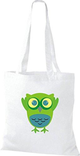 ShirtInStyle Jute Stoffbeutel Bunte Eule niedliche Tragetasche mit Punkte Karos streifen Owl Retro diverse Farbe, weiss