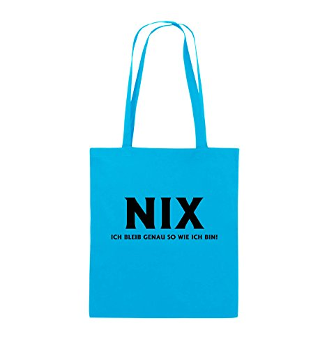 Comedy Bags - NIX ICH BLEIB GENAU SO - Jutebeutel - lange Henkel - 38x42cm - Farbe: Schwarz / Silber Hellblau / Schwarz