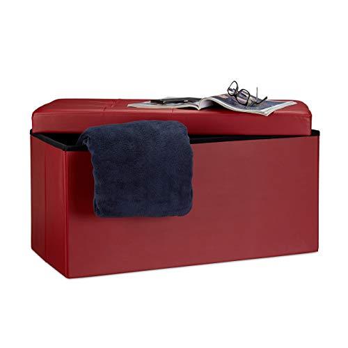 Relaxdays Faltbare Sitzbank 38 x 78 x 38 cm HxBxT, 2-Sitzer m. Stauraum, Kunstleder Sitzhocker 300 kg belastbar, dunkel-rot