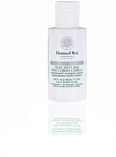 DOMUS OLEA TOSCANA - Huile Anti-âge Visage, Corps et Cheveux - Action Anti-âge Multifonction - Protectrice et renforçante - Parfum délicat à l'abricot - Certifié Icea & Nickel testé - 50 ml