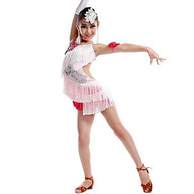 leider Kinder Tanz Kostüm mit Ohrringe, Weiß, 110 (Kind Joseph Kostüme)