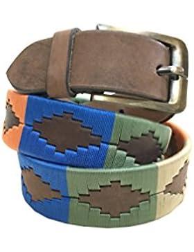 CARLOS DIAZ Cinturón de polo argentino de cuero marrón bordado para hombres y mujeres unisex
