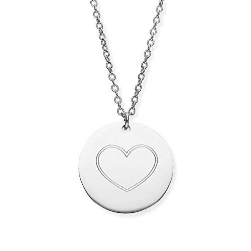 URBANHELDEN - Damen-Kette mit rundem Motiv Anhänger - Hals Kette Amulett - Edelstahl - Gravur Herz Silber Damen-motiv