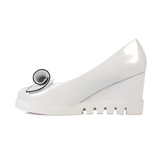 Wei Absatz Heels High mit Damen Geschlossene Schuhe Keilabsatz Pumps Schleife Plateau YE 7cm aqI7vAn