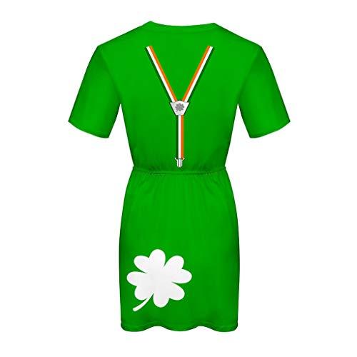 Lazzboy Kleid Damenkleid St. Patrick's Day - Grünes, kurzärmliges mit O-Ausschnitt und elastischem...