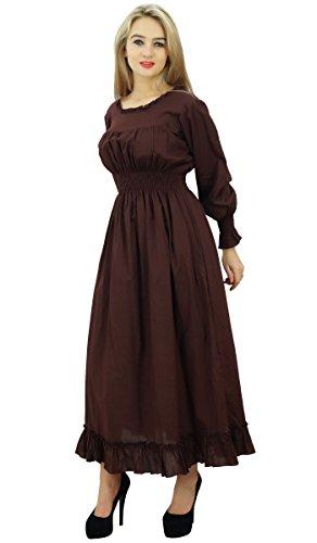 Bimba coton smocké la taille des femmes long robe maxi casual Marron