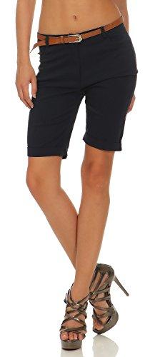 Damen Chino Shorts Kurze Hose Bermuda Pants mit Gürtel (635), Farbe:Blau, Grösse:S / 36