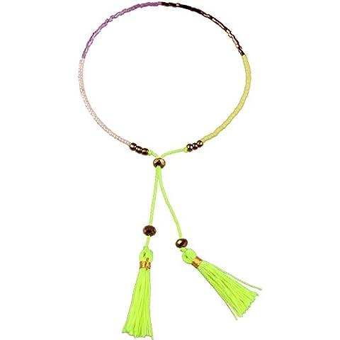 KELITCH Cristal Abalorios de Semillas Cuerda Cuerda Ligero Verde Borla Encanto Amistad Pulsera Charms -