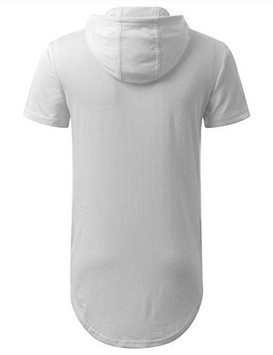 ... AIYINO Herren Kurzarm Langarm Hoodie T-Shirt 100% Baumwolle Kapuzenshirt  Weiß ... 999b785778