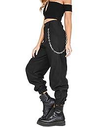 Pantalone Largo Donna con Catena e Tasche Baggy Hip Hop Harem Pants Punk  Rock Lunghi Salopette 097e9d56fda2