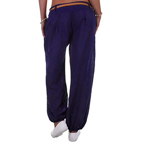 Haremshose Dorical Damen Pumphose Lange Elegant Leinen Hose,Yogahosen,Freizeithose,Stoffhose leicht,Pumphose zum Tanzen,Sommerhose,Lose Pants mit Gürtel,8 Farben S-5XL (80% (Blau,Large)
