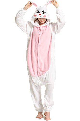 Weiß Hase Pyjamas Kostüm Jumpsuit Tier Schlafanzug Erwachsene Unisex Fasching Cosplay Karneval (Kostüm Katze Corgi)