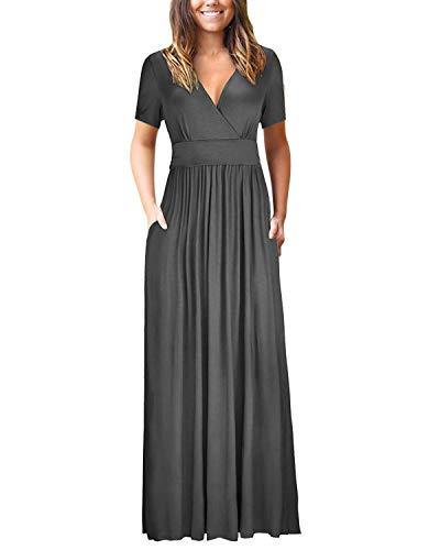 Bequemer Laden Damen Kleider Kurzarm V-Ausschnitt Lose Sommer Casual Lang Maxikleider mit Taschen, Grau, S - Maxi-kleid