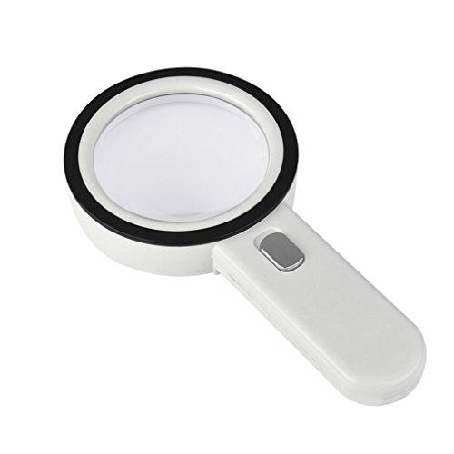 YJZQ, lente d'ingrandimento, da lettura, 5X, con 12 luci a LED, lente di ingrandimento per libri, giornali, monete, elettronica, francobolli