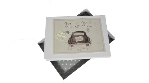 White Cotton Cards Mr and Mrs Hochzeits Tiny Foto Album Hochzeit Auto Range