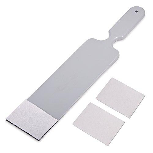 Winjun 1 Stück Grau Folienrakel Filzrakel Vinyl Rakel Fensterabzieher Wasserabzieher Kunststoffrakel mit 2 STK. Ersatz Rakelfilz für Autofolie Tönungsfolie Fensterfolie Heckscheibenfolie Werkzeug