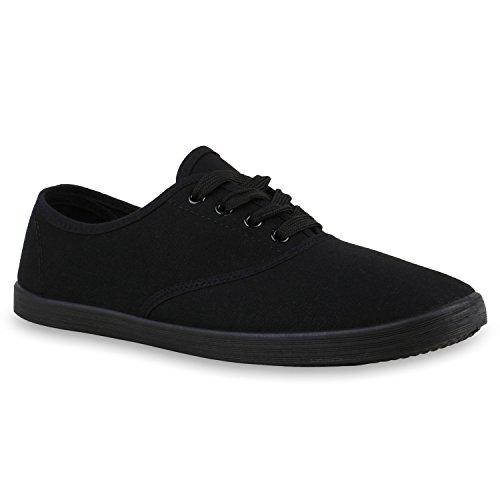 Sportliche Damen Herren Sneakers Unisex Basic Freizeit Schnürer Stoff Prints Viele Farben Schuhe 123811 Schwarz Schwarz 44 Flandell
