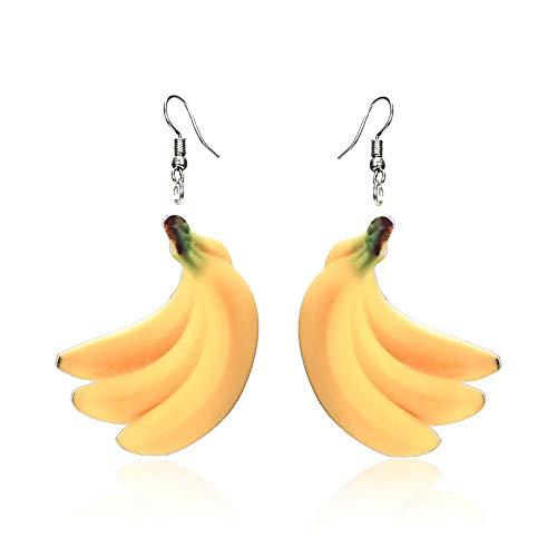 Carry stone Obst Ohrringe Essen baumeln Orange Tropfen Ohrringe für Frauen Mädchen Acryl Pfirsich Ohrring Traube Kokospalme Mango Cantaloupe Schmuck-Banana hohe Qualität