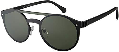 La Optica B.L.M. UV400 CAT 3 CE Unisex Damen Herren Sonnenbrille Rund Monoscheibe - Einzelpack Metal Schwarz (Gläser: Grün klassisch)