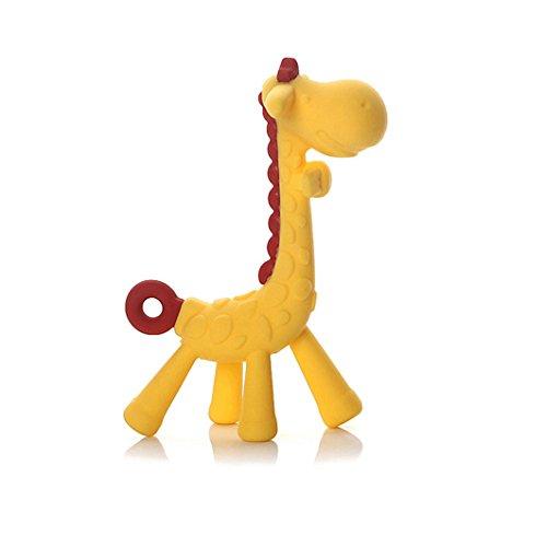 Dearmy Baby Giraffe Beißring Spielzeug, Zahnen Schnuller Kauen Ringe zum Babys Säugling Kleinkind, Weich Silikon, BPA-frei, Natürlich Bio Ausbildung Zähne Griff Zähne Beruhigend Gummi Massagegerät Oral Hygiene (Gelb) -