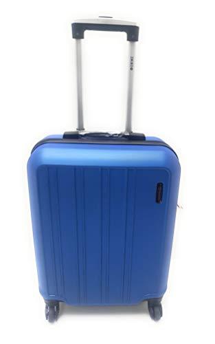 Trolley Ryanair Priority idoneo cm.55x40x20 ABS rigido 4 Ruote Bagaglio a mano Low cost (AZZURRO)