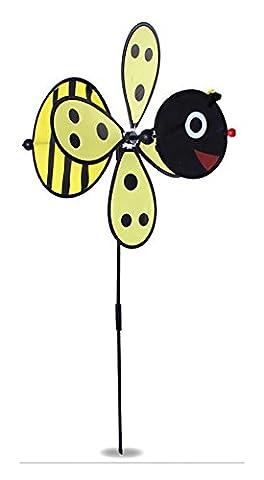 Large Bumble Bee / Ladybug Windmill Whirligig Wind Spinner Home Yard Garden Decor XXL (Yellow Bee)