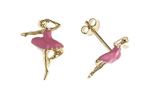 Boucles d'oreilles clous en or 9ct Carats émail rose ballerine ap6755