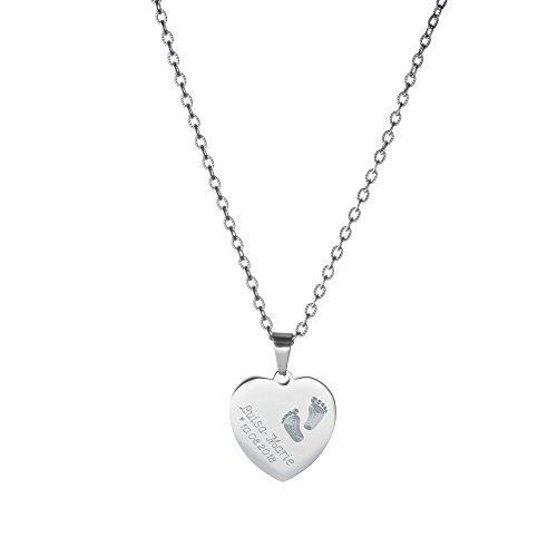 Gravado Halskette aus Edelstahl mit Herz Anhänger - Gravur mit Kinder Füßchen - Personalisiert mit Namen und Datum (Personalisierter Name Halskette)