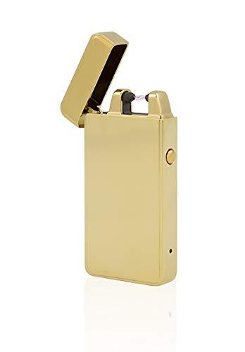 TESLA Lighter T01 | Lichtbogen Feuerzeug, Plasma Single-Arc, elektronisch wiederaufladbar, aufladbar mit Strom per USB, ohne Gas und Benzin, mit Ladekabel, in Edler Geschenkverpackung, Gold