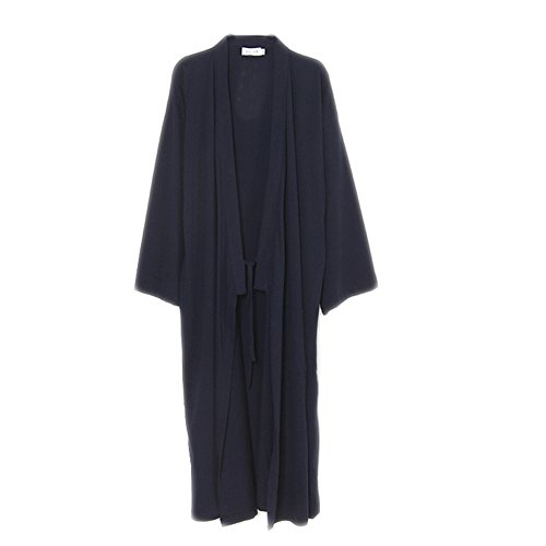 (Männer Japanische Stil Robes Pure Baumwolle Kimono Pyjamas Dressing Kleid Bademäntel-Navy)