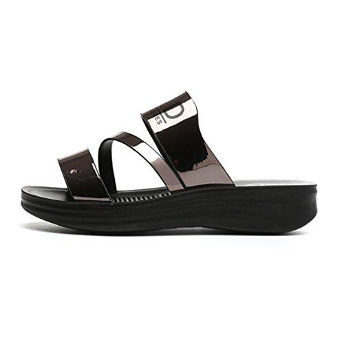 Damen Pantoffeln Metall Plateau Einfach Cool Leicht Weich Bequem Atmungsaktiv Strapazierfähig Straße Freizeit Schick Schuhe Waffe Farbe
