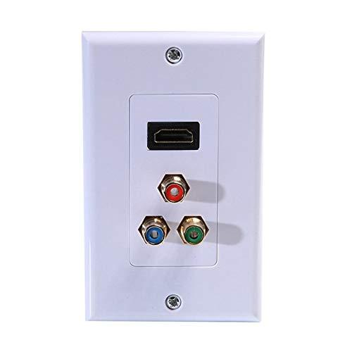 8Eninine HDTV + -Komponenten-Videomedien-Wandplatine 3-RCA-RGB-Sockel Videomedien 3-RCA-RGB-Weiß (In-wall Home Theater System)
