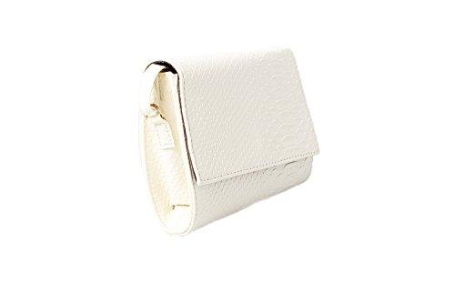 Accessoryo - Damen Creme Croc Textureffekt Schulter Handtasche (Handtasche Zierliche)