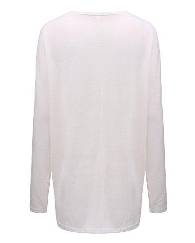 ZANZEA Mode Lâche Femme Shirt en Chauve-souris Manches Irrégulier Jumper Tops Hauts Blanc